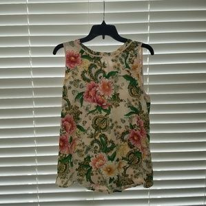 Loft floral sleeveless top NWOT